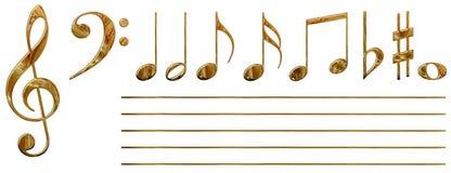 Notas musicais (ouro) Fotografia de Stock