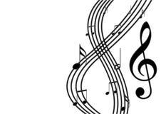 Notas musicais pretas no stave Foto de Stock Royalty Free