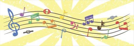 Notas musicais realísticas, coloridas, fluindo, vetor Fotos de Stock