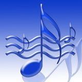 Notas musicales azules Foto de archivo libre de regalías
