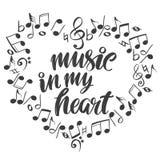 Notas musicales bajo la forma de icono del corazón, música del amor, bosquejo dibujado del ejemplo del vector de la mano de texto ilustración del vector