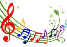 Notas musicales coloridas Fotografía de archivo