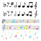 Notas musicales coloridas e illu del vector de las siluetas Foto de archivo libre de regalías