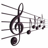Notas musicales con la profundidad del campo Imagen de archivo