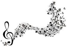 Notas musicales con las mariposas Imagen de archivo libre de regalías