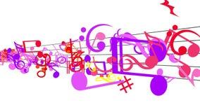 Notas musicales de conexión en cascada stock de ilustración