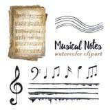 Notas musicales de la acuarela retra fijadas foto de archivo