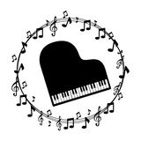 Notas musicales de la frontera con el piano ilustración del vector