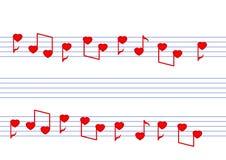 Notas musicales de los corazones Foto de archivo libre de regalías