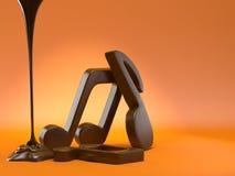 Notas musicales del chocolate imagen de archivo libre de regalías