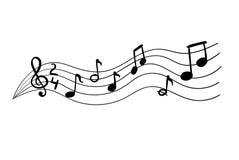 Notas musicales del vector, ejemplo dibujado mano del garabato, imagen ilustración del vector