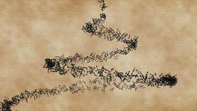 Notas musicales en vórtice vertical en el viejo fondo de papel ilustración del vector