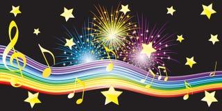 Notas musicales, estrellas y fuegos artificiales. imagen de archivo