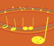 Notas musicales locas Imagenes de archivo