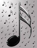 Notas musicales metálicas Fotografía de archivo