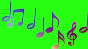 Notas musicales que vuelan sobre fondo de pantalla verde stock de ilustración