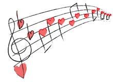 Notas musicales románticas Fotografía de archivo