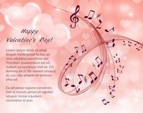 Notas musicales y clave de sol en un fondo rosado con los corazones ilustración del vector