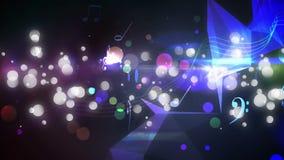 Notas musicales y efectos luminosos del bokeh stock de ilustración