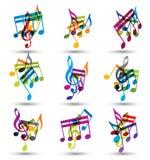 Notas musicales y símbolos alegres expresivos brillantes en wh Imagenes de archivo