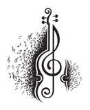 Notas musicales y violín Imágenes de archivo libres de regalías