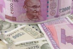 Notas novas da moeda indiana fotografia de stock royalty free