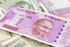Notas novas da moeda indiana fotografia de stock