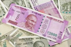 Notas novas da moeda indiana fotos de stock royalty free