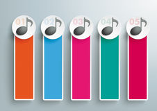 5 notas oblongas coloreadas de la música de las banderas Imagenes de archivo