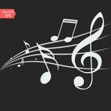 Notas ornamentales de la música con remolinos en fondo negro ilustración del vector