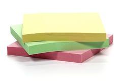 Notas pegajosas Fotografía de archivo libre de regalías