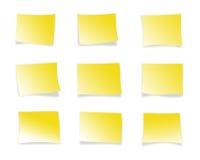 Notas pegajosas amarillas Imagen de archivo libre de regalías