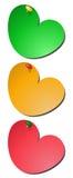3 notas pegajosas coloreadas del corazón Imágenes de archivo libres de regalías