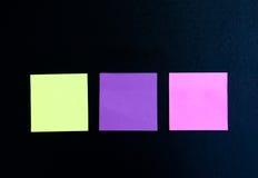 Notas pegajosas coloreadas multi Fotografía de archivo