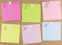 Notas pegajosas coloridas Fotografia de Stock