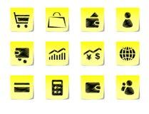 Notas pegajosas com imagens Imagem de Stock