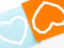 Notas pegajosas com símbolo do coração Imagens de Stock