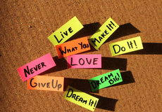 Notas pegajosas de motivación Imagen de archivo libre de regalías
