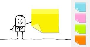 Notas pegajosas do homem e do espaço em branco Fotografia de Stock