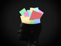 Notas pegajosas en cabeza Foto de archivo libre de regalías