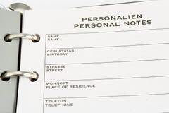 Notas personales Imagen de archivo libre de regalías