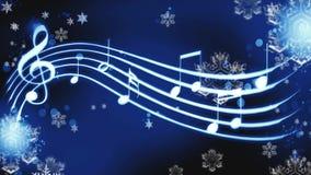 Notas sobre un fondo azul con melodía del invierno de los copos de nieve stock de ilustración