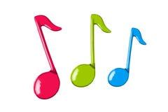 Notas tricolores de la música Foto de archivo libre de regalías