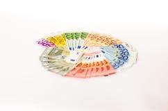 Notas ventiladas do Euro de denominações diferentes Imagens de Stock Royalty Free