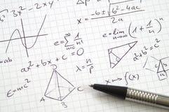 Notas y álgebra de la matemáticas imagen de archivo libre de regalías