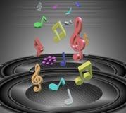 Notas y altavoces de la música Imagen de archivo