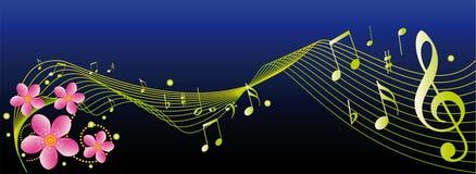 Notas y flores de la música stock de ilustración