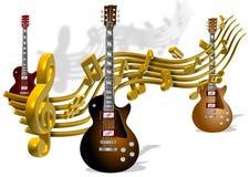 Notas y guitarras de la música Fotos de archivo