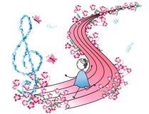 Notas y niña de la música stock de ilustración