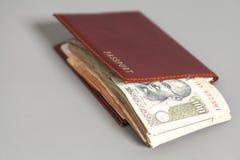 Notas y pasaporte indios de la rupia de la moneda Imágenes de archivo libres de regalías